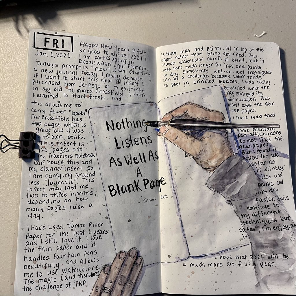 Happy New Year! Since I'm starting a new journal, I decided to sketch me writing on it! So my new