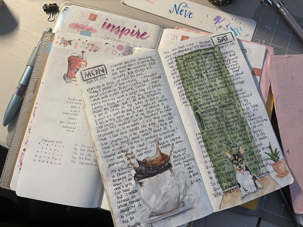 Today, I get to work on my journals… and posting Monday's and today's… I did combine