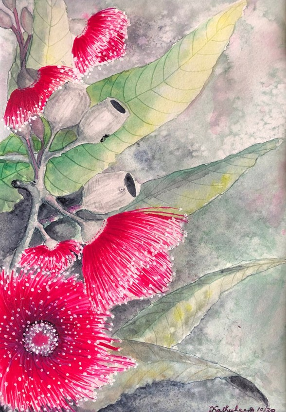 BUSH BLOSSOMS BLK MAT Watercolor by Kathy Lee