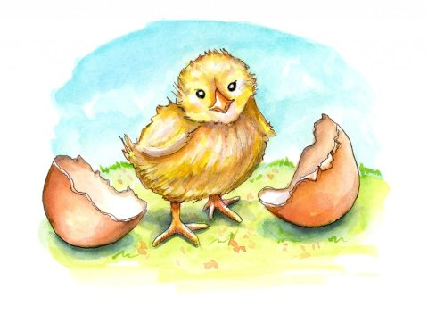 Baby Chick Easter Spring Watercolor Childrens Illustration Painting