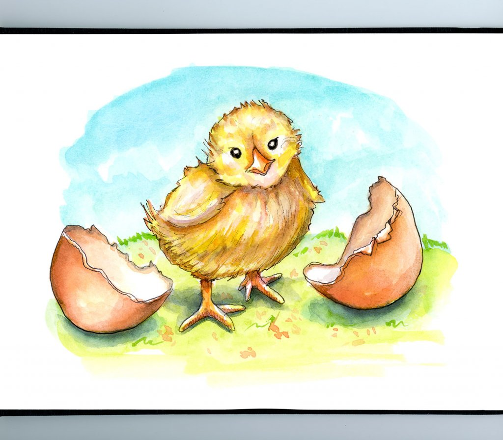 Baby Chick Easter Spring Watercolor Childrens Illustration Painting_IG