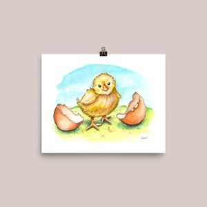 Baby Chick Hatching Eggs Easter Watercolor Painting Illustration Print Signed