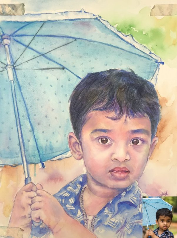 Child With Blue Umbrella Portrait Watercolor painting by by Vishal Jain