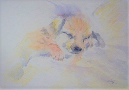 Dog Pet Portrait Watercolor painting by by Vishal Jain