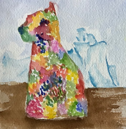 #doodlewashjanuary2021 day 29: Puppy; Jeff Koons' sculpture (Puppy) is in front of the Guggenheim