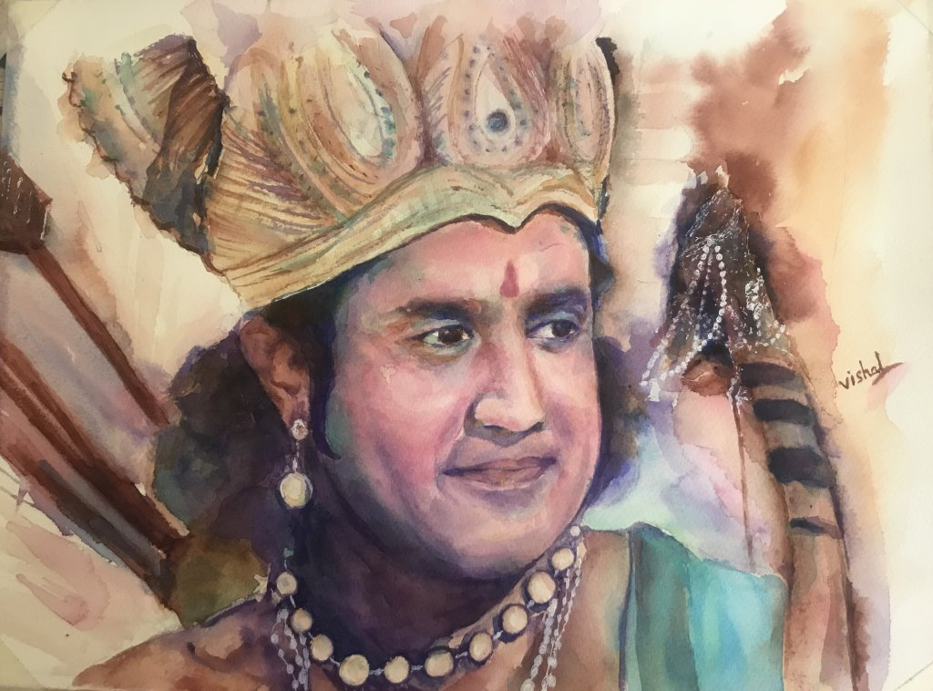Indian Man Portrait Watercolor painting by by Vishal Jain