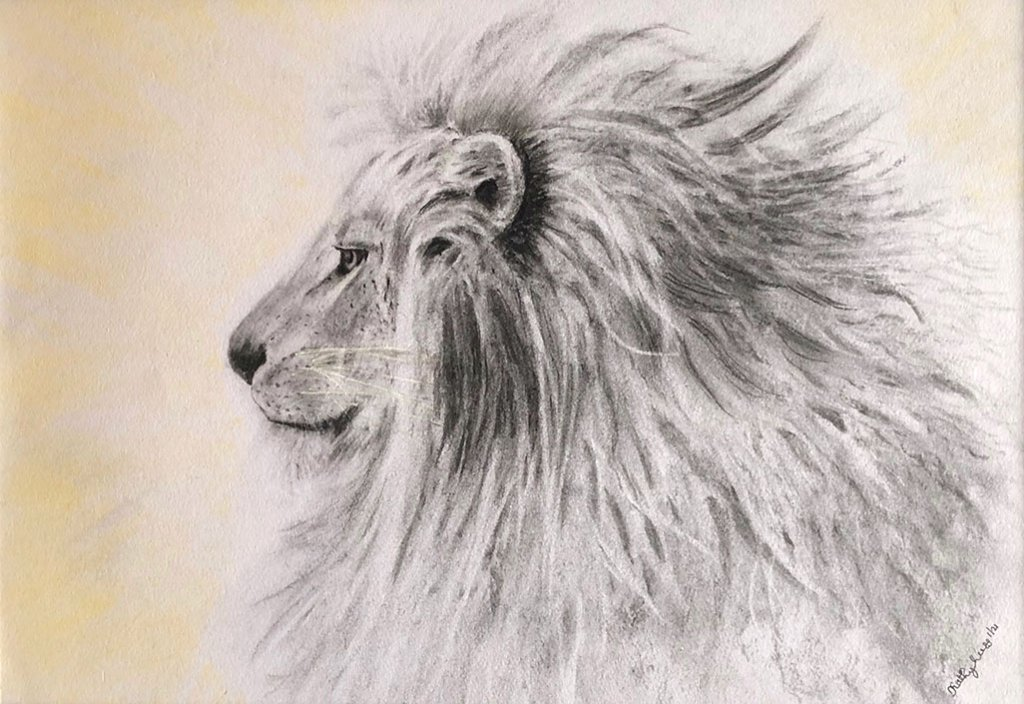 LEONIDES Lion Profile Watercolor by Kathy Lee