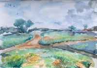 Landscape Watercolor painting by by Vishal Jain