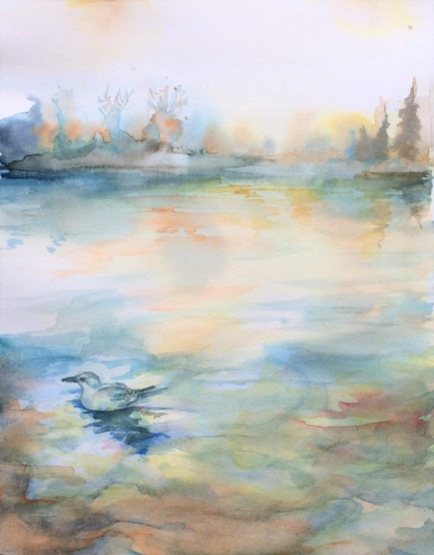 Misty Watercolor Landscape painting by by Vishal Jain