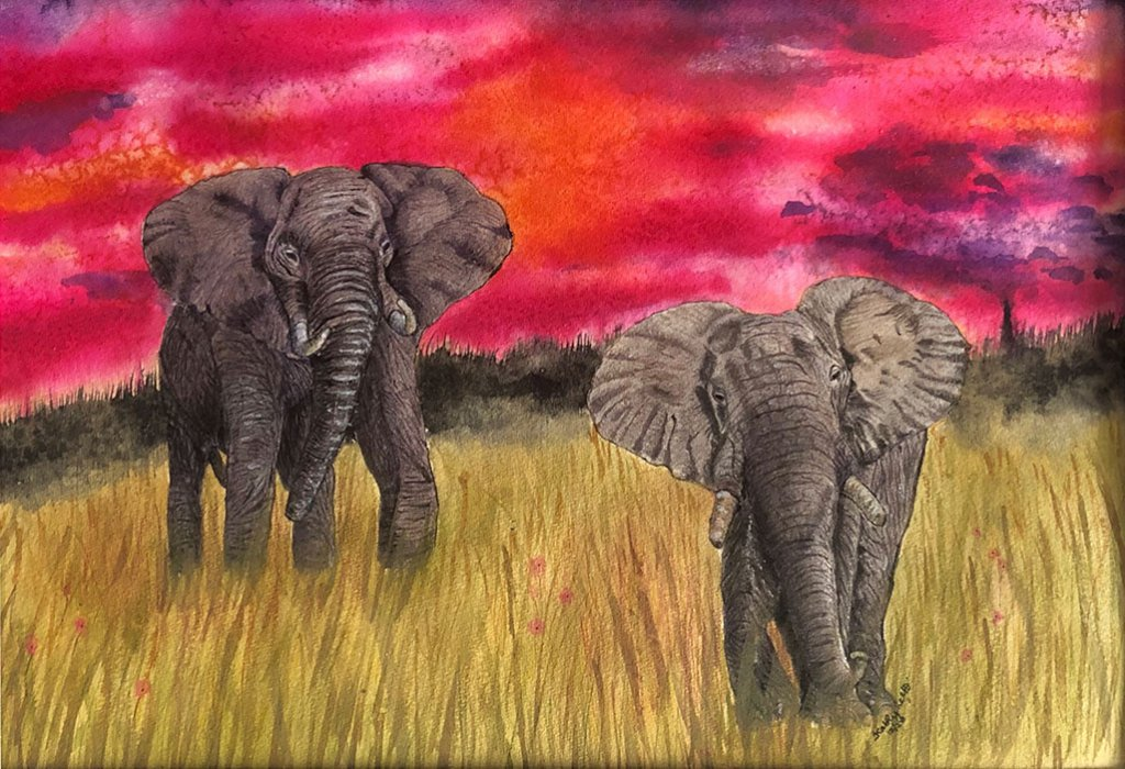 SAFARI SUNSET Elephants Watercolor by Kathy Lee