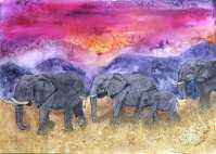 TRIBAL INSTINCT Elephants Safari Pink Sky Watercolor by Kathy Lee