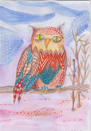 this quircky owl is in watercolours with some paintmarker details . Wisdomofftheowlklein