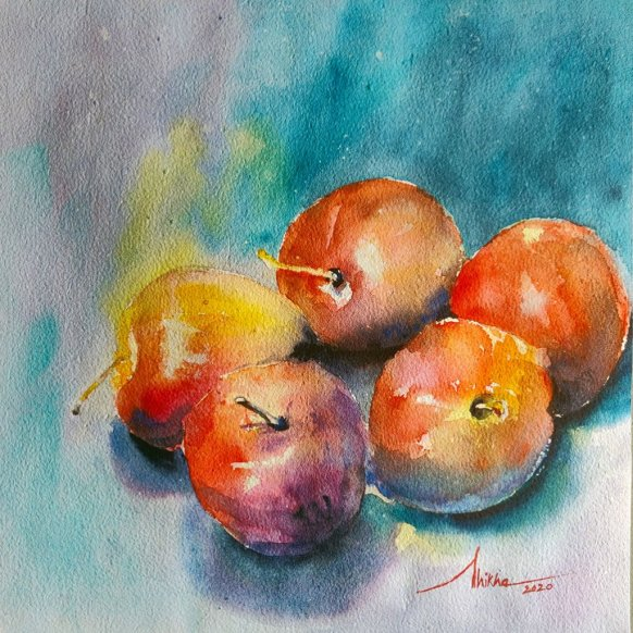 apples_watercolor_stilllife_01 watercolour by Shikha Garg