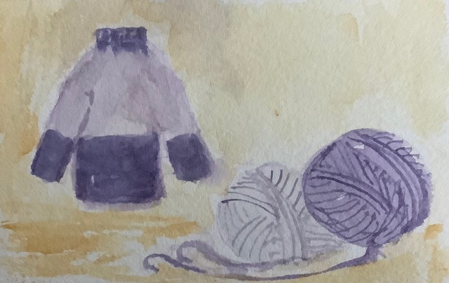 #doodlewashjanuary2021 day 17 yarn; This past week I completed knitting a nice, warm, bulky sweater.