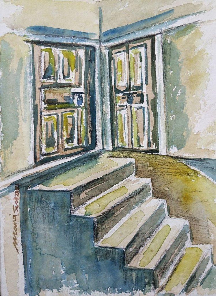 Dt: 26.01.2021 Sub: DOOR Watercolor painting on handmade paper inbound5596280144763187386