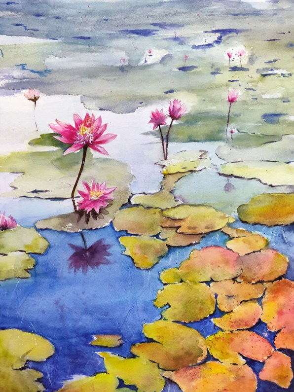 lotus painting watercolour by Shikha Garg