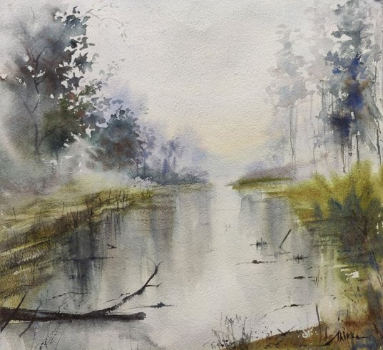misty river painting watercolour by Shikha Garg
