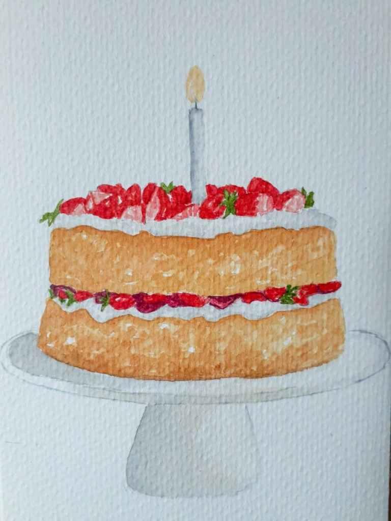 #doodlewashFebruary2021 2/21 Sponge Cake. It's my birthday today, and today's challenge