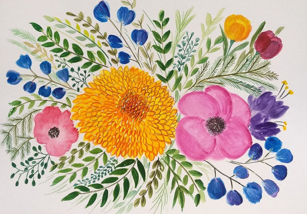 Colorful Flowers 2 Watercolor Painting by Saumya Agrawal