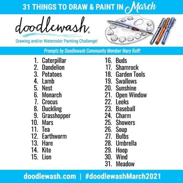 Doodlewash March 2021 Art Drawing Watercolor Challenge Prompts