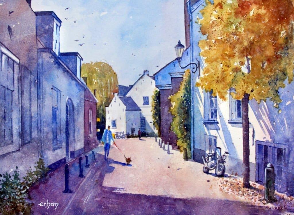 Amersfoort, Holland, watercolor on SW 26x36cm Erhan-Amersfoort, Holland