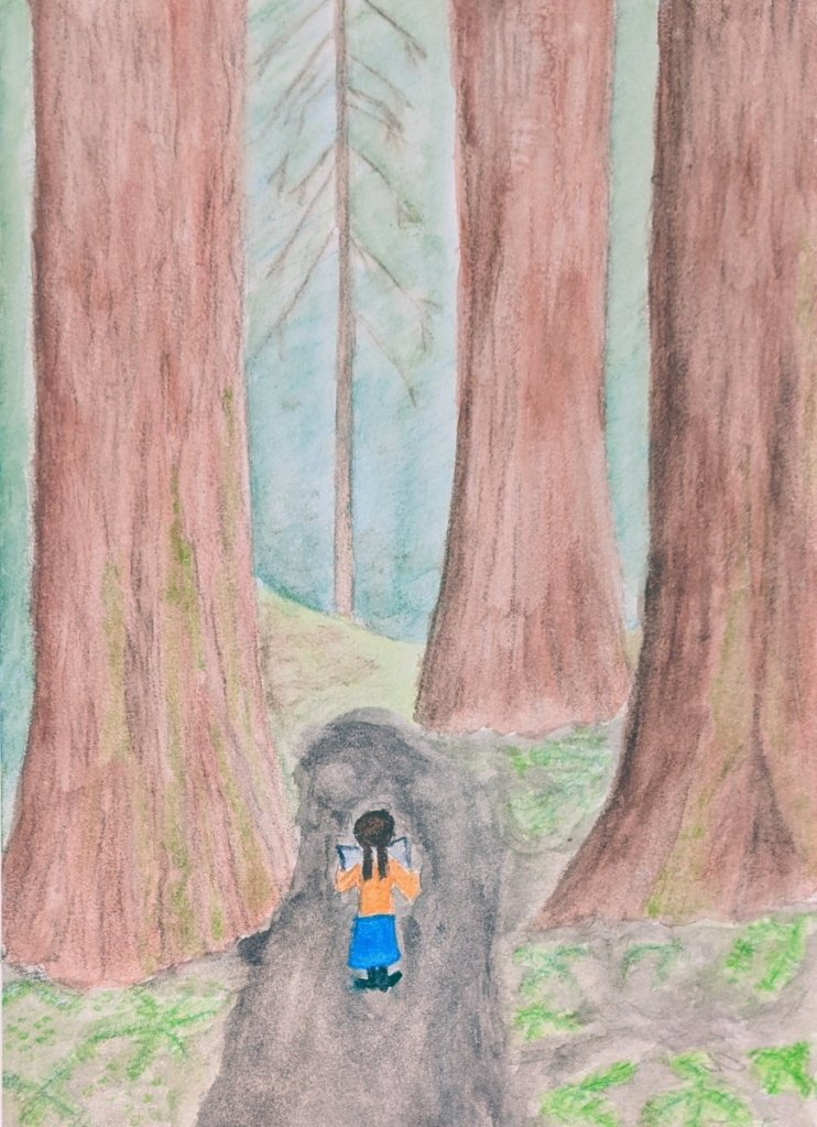 Redwoods make me feel MICROSCOPIC. Based on an illustration by Jason Chin. PXL_20210227_064658692