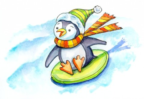 Penguin Scarf Hat Winter Sledding Down Hill Watercolor Illustration