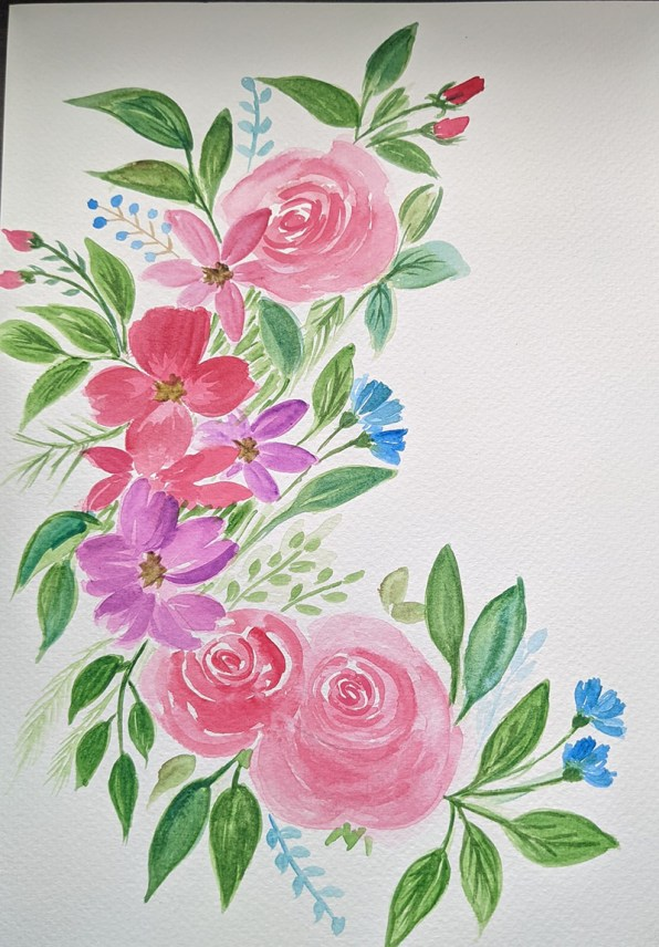Red Pink and Purple Flowers Watercolor by Saumya Agrawal