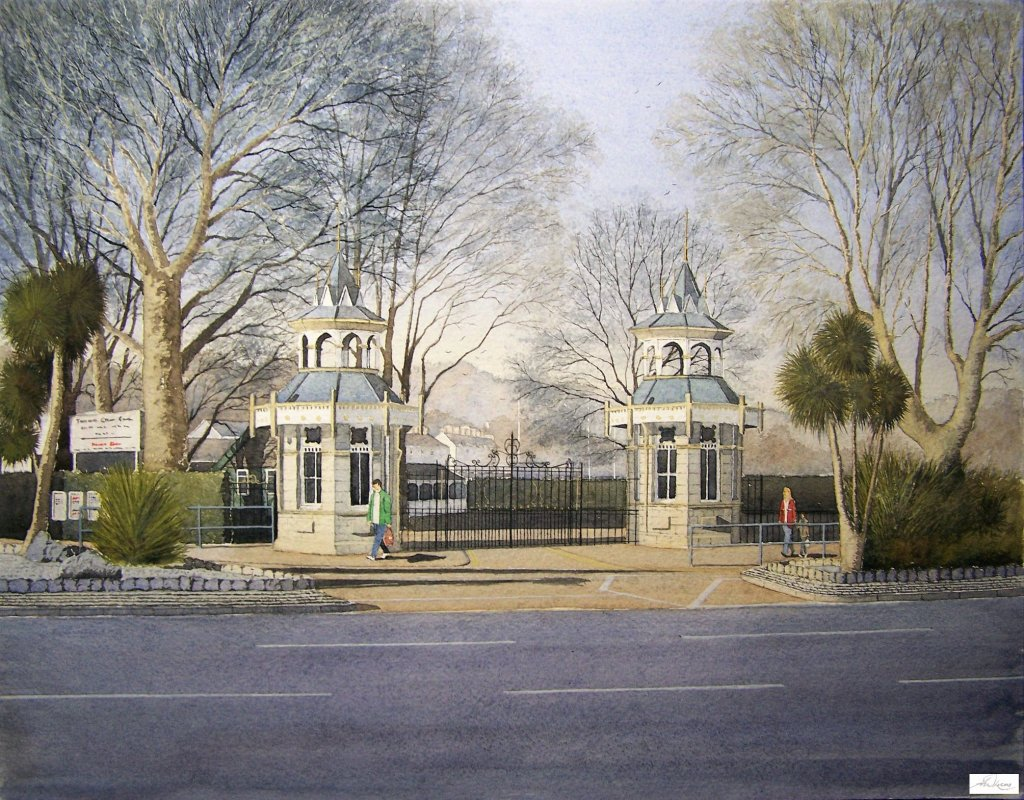 """ The Recreation Ground gates "", Torquay, England. Andrew Lucas Watercolour, 30 x 40 cm,"