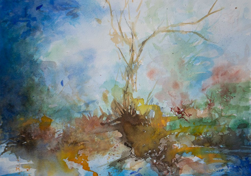 Through the Fog watercolor by Lisa Sinicki