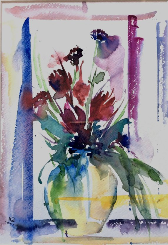 Tulip in a vase watercolour painting by Kusum Shabong