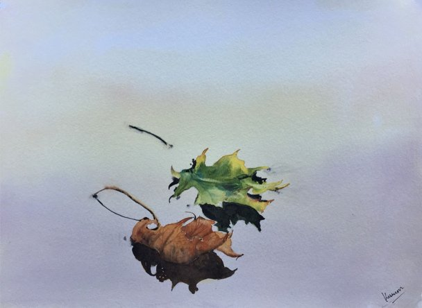 autumn leaves watercolour painting by Kusum Shabong