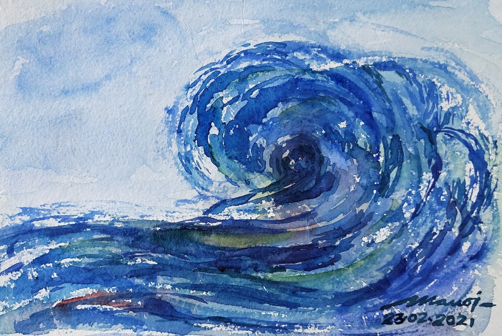 Dt: 23.02.2021 Sub: OCEAN Watercolor painting on handmade paper inbound6839778484923562150