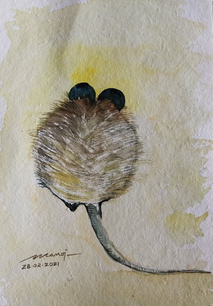 Dt: 28.02.2021 Sub: MOUSE Watercolor painting on handmade paper inbound7484998775944353047