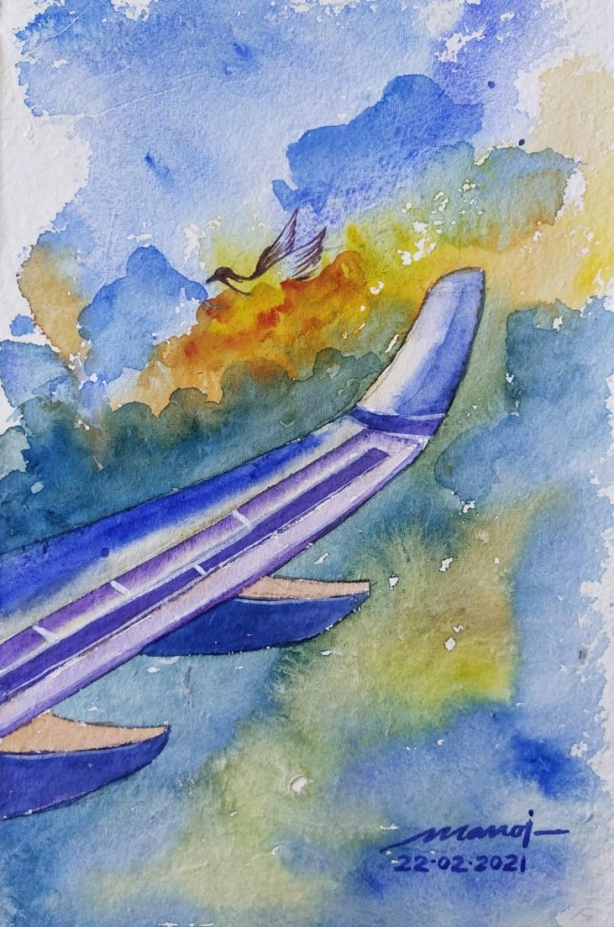 Dt: 22.02.2021 Sub: AIRCRAFT Watercolor painting on handmade paper inbound8475457561478932458