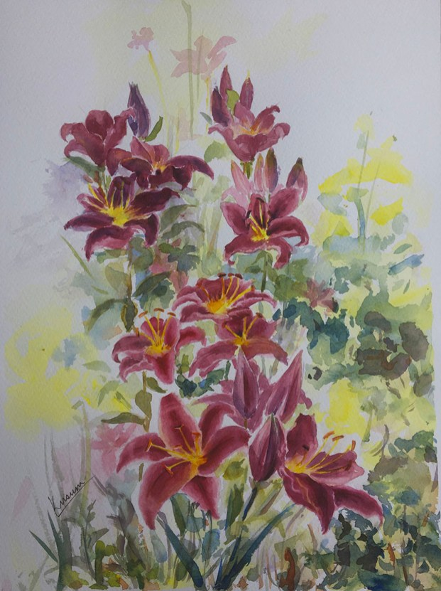 summer lilies watercolour painting by Kusum Shabong