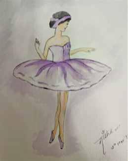Balletgirl watercolor sketch by Nisha Gupta
