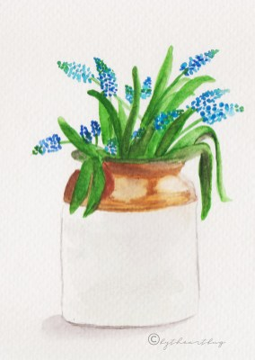 Blue Flowers Vase Watercolor bytheartbug (5)
