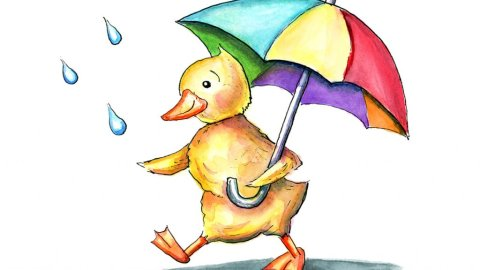 Duck Duckling Holding Rainbow Umbrella In The Rain Watercolor Illustration