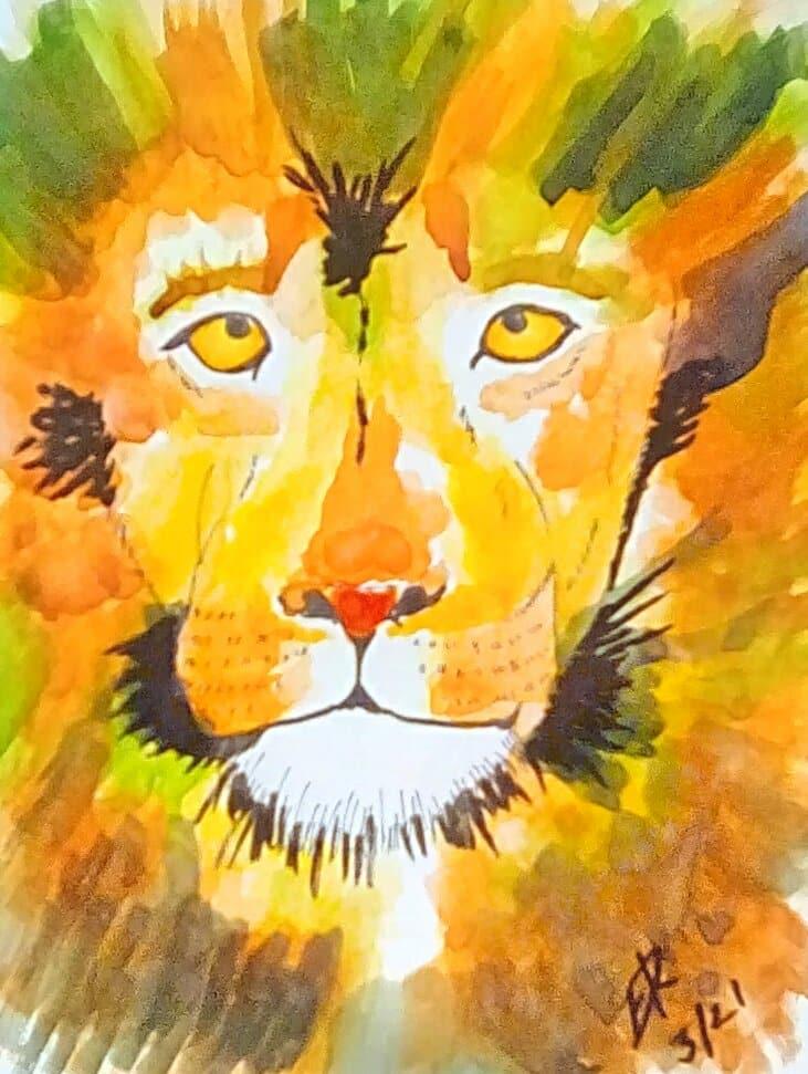 "Today's watercolor challenge ""Lion"" IMG_20210315_123839_hdr_kindlephoto-63359743"