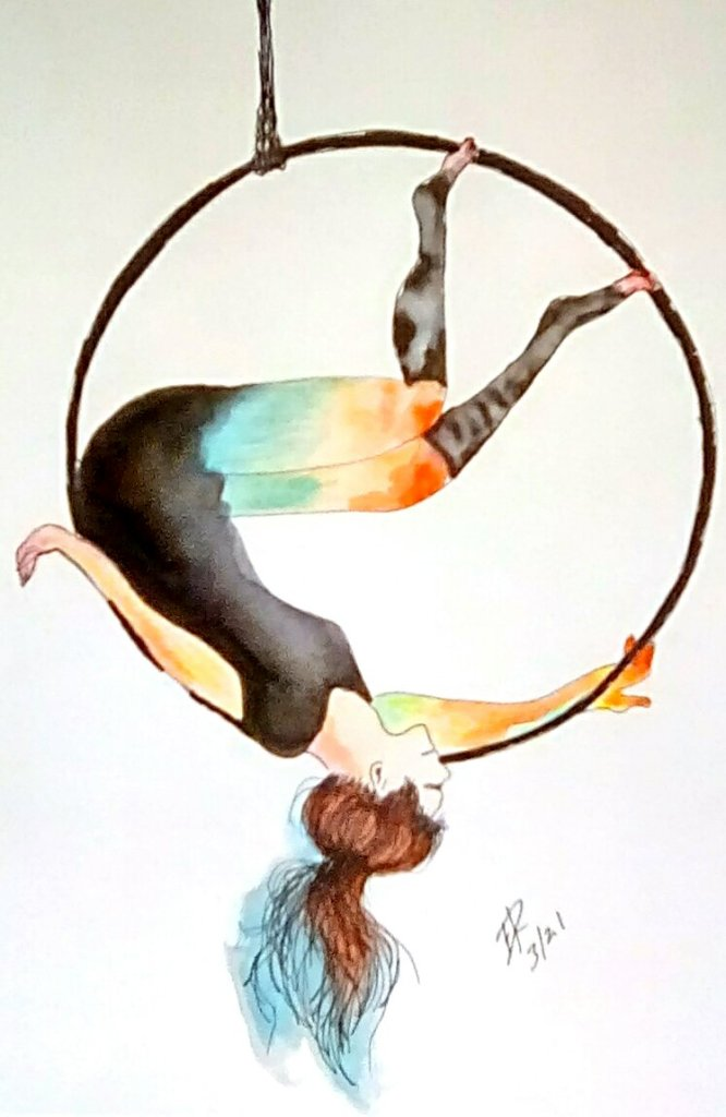 """Today's watercolor challenge """"Hoop"""" how about an aerial hoop dance? IMG_20210329_1"""