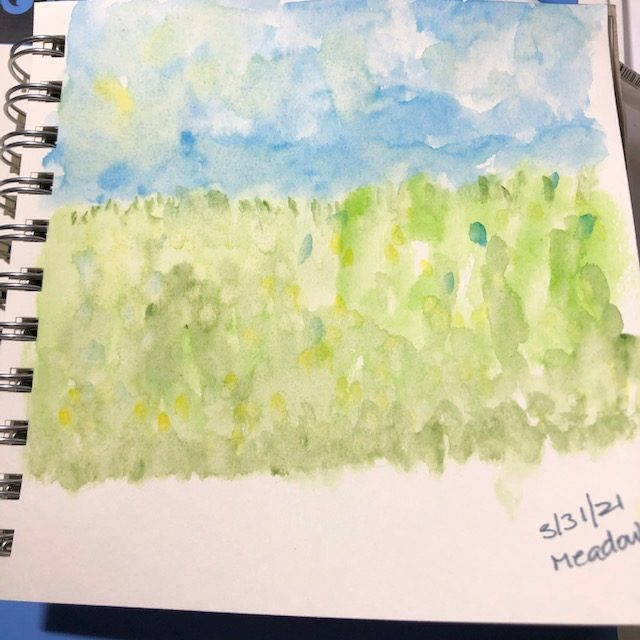 And March is done…#doodlewashMarch2021..I combined umbrella and wind..hoop, and meadow. IMG_66