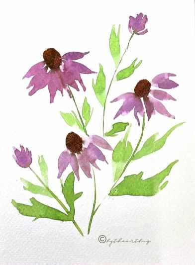 Purple Flowers Watercolor by Megha Cassandra