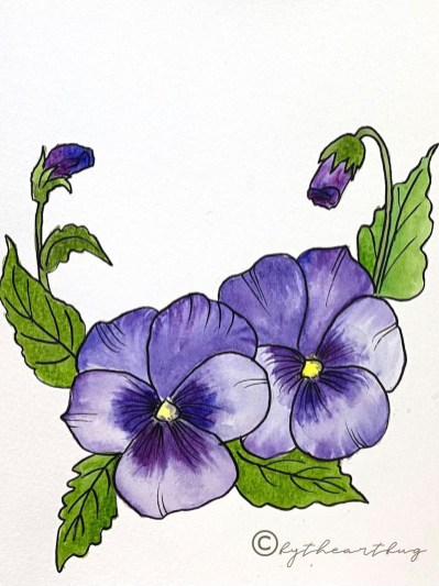 Purple Flowers and Leaves Painting by Megha Cassandra