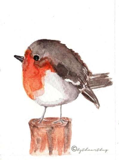 Robin Watercolor by Megha