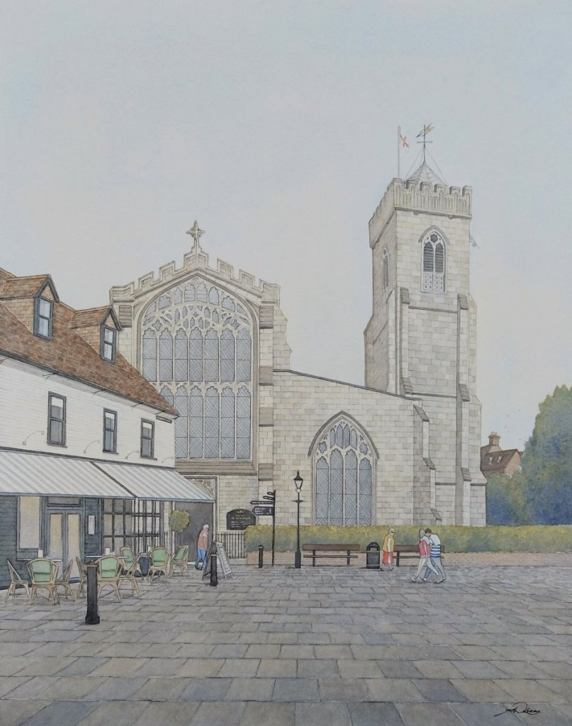 """ St Thomas's church "", Salisbury, England. Andrew Lucas Watercolour, 50 x 40 cm,"