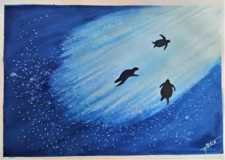 Underwater Watercolor Painting by Nisha Gupta