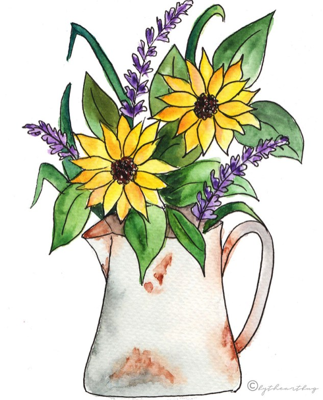 Yellow Flowers Watercolor bytheartbug (1)