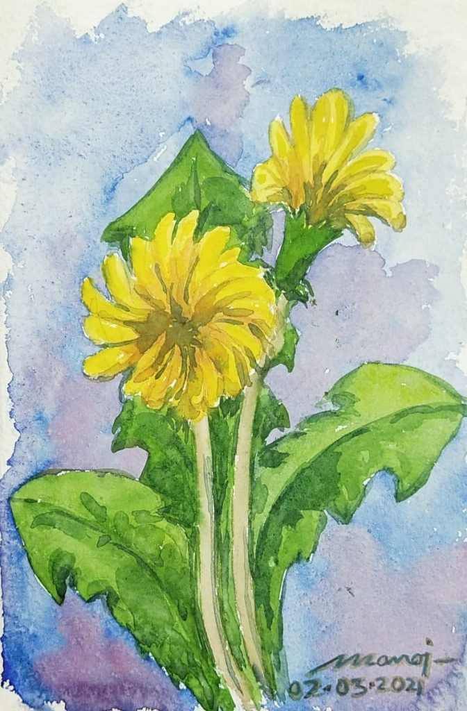 Dt: 02.03.2021 Sub: DANDELION Watercolor painting on handmade paper inbound2700077486818956382