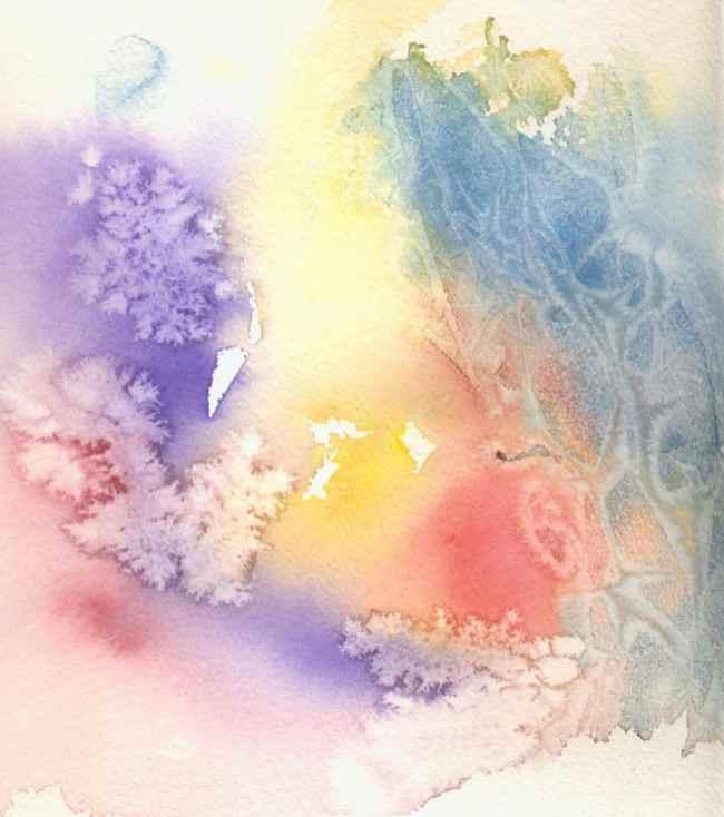 salt cling wrap watercolour painting